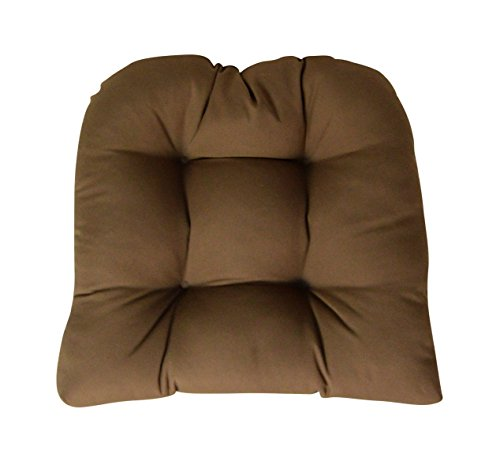 Cushion Chestnut Brown Sunbrella - Sunbrella Canvas Chestnut Wicker Chair Cushion - Indoor / Outdoor 1 Tufted Wicker Chair Seat Cushion