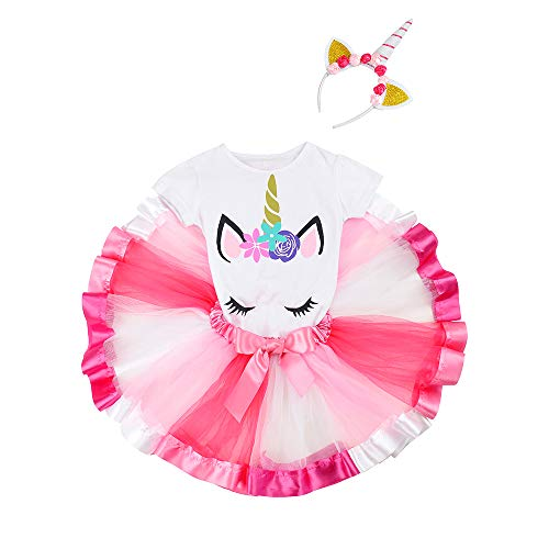 DOMIRY Tulle Tutu Skirt Dressing up Set for Little Girls Rainbow Fluffy Tutu with Cotton T-Shirt and Unicorn Horn Headband Ballet Outfits (Rose Rainbow, -