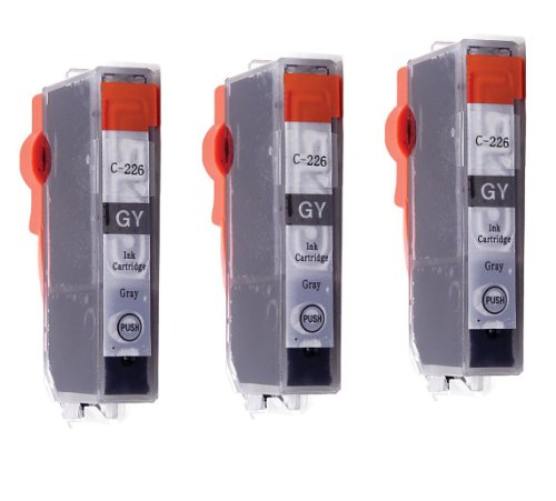 Compatible Reman Ink - 3 Pack - Toners & More Compatible Gray Inkjet Cartridge for CLI-226 CLI226, CLI-226GY Gray, Compatible with PIXMA MG6120, MG8120, MG8120B, MG6220, MG8220