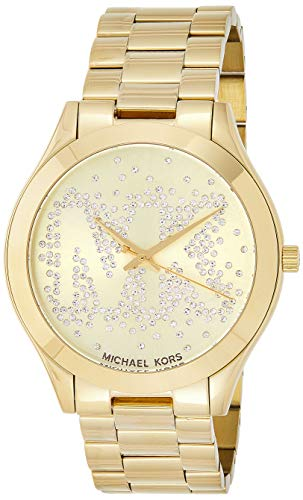 Michael Kors Women's Slim Runway Logo Gold-Tone Watch MK3590