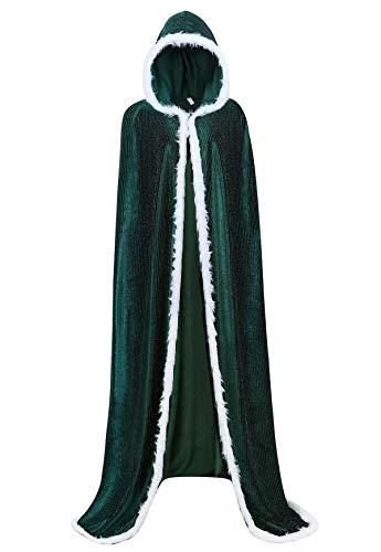 Famajia Women's Christmas Cloak Deluxe Velvet Hooded Cape Mrs Santa Costumes X-Large Green
