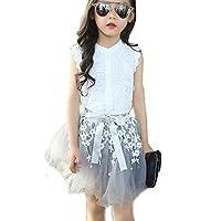 2PCS Toddler Kids Baby Girls Lace Shirt Tops Tutu Skirt Dress Outfit Size 6-7 Years (White)