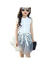 EGELEXY 2PCS Toddler Kids Baby Girls Lace Shirt Tops Tutu Skirt Dress Outfit