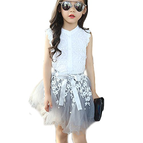 2PCS Toddler Kids Baby Girls Lace Shirt Tops Tutu Skirt Dress Outfit Size 3-4 Years (White)