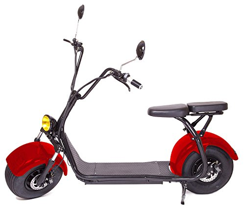 eDrift UH-ES295 2.0 32MPH Electric Fat Tire Scooter Moped with Shocks 2000w Hub Motor Harley E-Bike (Red, 30AH)