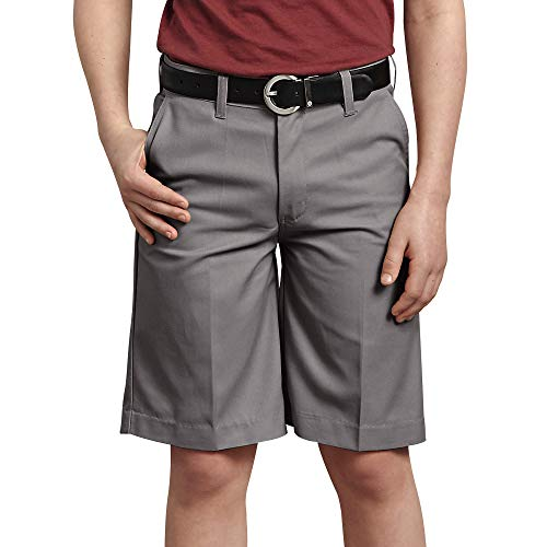 (Dickies Kids Big Boys Flexwaist Flat Front Short, Silver, 8)