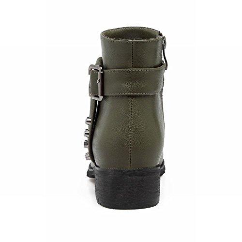 Latasa Womens Dubbade Rem Och Spänne Chunky Boots Militärgrön