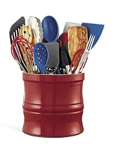 Kitchen Tools Organizer Set - Red Stoneware Utensil Crock with Internal Divider and Non-Skid Lazy Susan Turntable