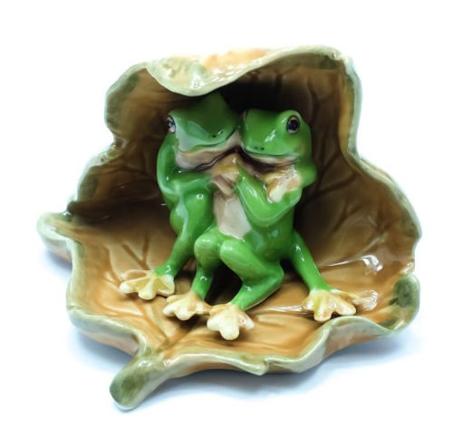 Handmade Porcelain Figurine - Animal Miniature Handmade Porcelain Statue 2 Green Frog Under Dry Leaf Figurine Collectibles Gift
