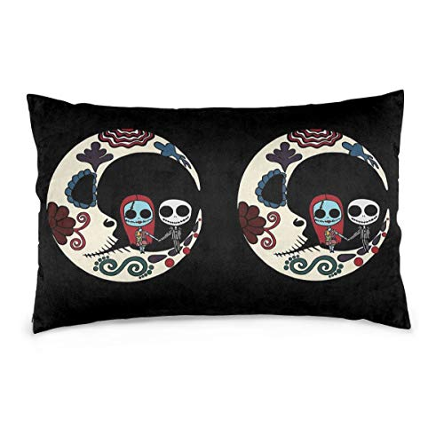 Pillow Cases Jack and Sally On Sugar Skull Moon Throw Cushion Covers Body Pillow Cover for Car Sofa Bed Home Decor 20