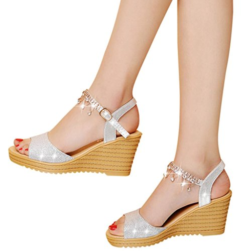 High Heels Wedge Sandals Slipper Women Platform Shoes Buckle Peep-toe Wedges Shoes (US:7.5, (White Gold Ballet Slippers)