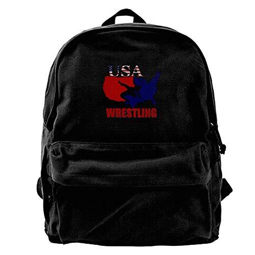 Men Canvas Blcak Backpack Shoulder Classic Travel Bag USA Wrestling by Wiongh Opp