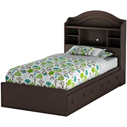 39 in. Twin Mates Bed with Bookcase Headboard in Chocolate