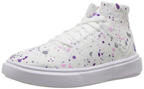 Shoes Splatter (Under Armour Girls' Pre-School KickIt2 Splatter Mid Lifestyle Shoes, White/White, 2.5 M US Little)