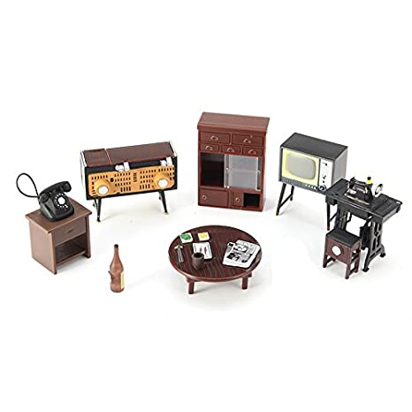 Amazon.es: Kit Miniaturas muebles salon retro para casas de ...
