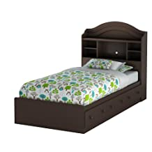 South Shore Furniture Summer Breeze Twin Mates Bed with Drawers and Bookcase Headboard 39-Inch Set, Chocolate