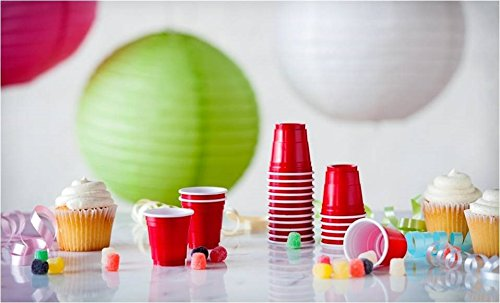 Goodtimes 2oz Mini Party Cups 100ct Bag Perfect size for liquor shots, Jello shots, Halloween Parties, serving condiments and kids love them too! (Red-Bulk) by Goodtimes (Image #2)