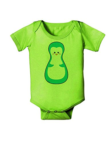 TooLoud Cute Penguin Matryoshka Nesting Doll - Christmas Baby Romper Bodysuit - Lime Green - 12 Mos
