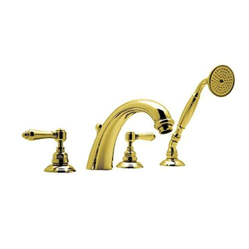 Deck Mount Country Hole 4 (Rohl A2104LM-IB San Julio 4-Hole Deck Mount Bath Mixer with C-Spout & Handshower, Metal Lever Handles)