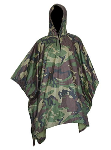 Vcansion Men's Military Multifunction Outdoor Camouflage Waterproof Raincoat Poncho Jungle