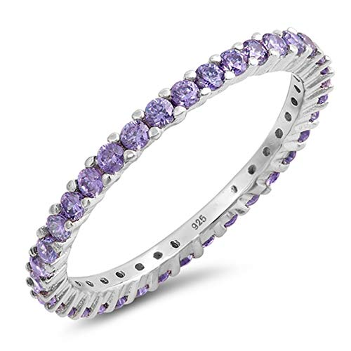 Blue Apple Co. Full Eternity Stackable Wedding Band Ring Simulated Amethyst 925 Sterling Silver,Size-6