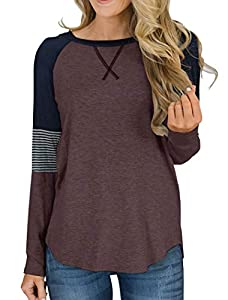 Hilltichu Women's Color Block Round Neck Tunic Tops Casual Long Sleeve and Short Sleeve Shirt Blouse