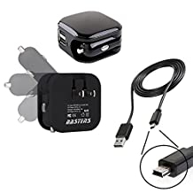 3in1 dual mini wall outlet & car charger double USB power ports & sized pocket for travel 2.1 Amp 11W with USB charge cable designed for the Garmin nuvi 2789 LMT