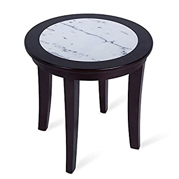 Image of Home and Kitchen Olee Sleep Natural Marble Top Round Coffee Table/ Tea Table / End Table/ Side Table/ Solid Wood Table/ Office Table/ Computer Table / Vanity Table, Dining Table, (White & Espresso)