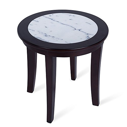Olee Sleep Natural Marble Top Round Coffee Table/ Tea Table / End Table/ Side Table/ Solid Wood Table/ Office Table/ Computer Table / Vanity Table, Dining Table, (White & - Solid Natural Marble
