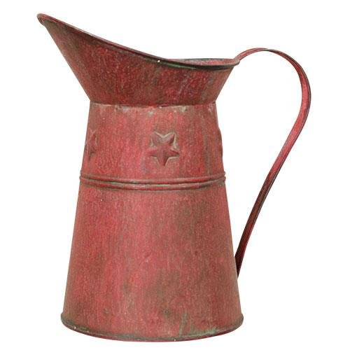 Watering Can - Distressed Red Metal with Stars - Country Rustic Primitive Jug Vase CW