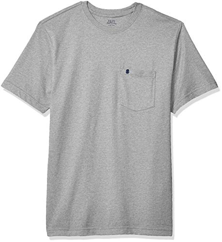 IZOD Men's Saltwater Short Sleeve Solid T-Shirt with Pocket, Light Grey Heather, X-Large