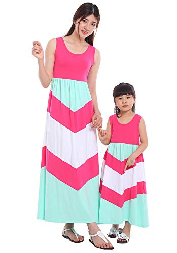 Wennikids Cotton Material Mommy and Me Chevron Maxi Dress Hot Pink Women XX-Large