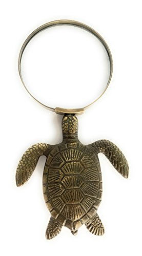 Madison Bay Company Magnifying Glass with Brass Sea Turtle Handle, 6.75 Inches ()