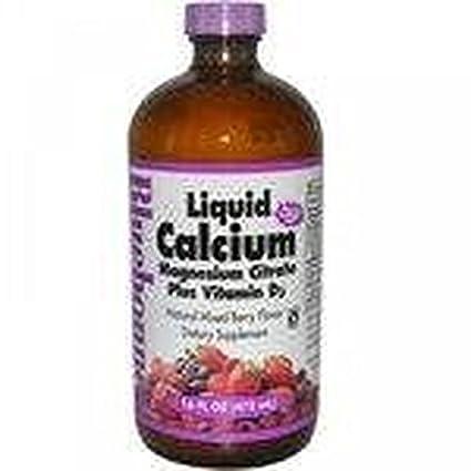 Calcio Magnesio Citrato con Vitamina D3 Fresa 472 ml de Bluebonnet