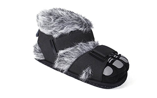 9079-4 - Gray and Black Hairy Feet - X Large - Happy Feet Animal Slippers -