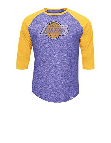 NBA Los Angeles Lakers Men's Lakers Don't Judge 3/4 Sleeve Crew Neck Tee Fashion Tops 80S, X-Large, Hyper Purple Pepper Slub/Yellow (80s Clothing For Men)