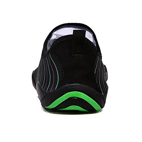 Ceyue Mens Womens Wasser Schuhe Quick Dry Swim Schuhe Sport Aqua Schuhe mit 14 Drainage Löcher Schwarzer Streifen