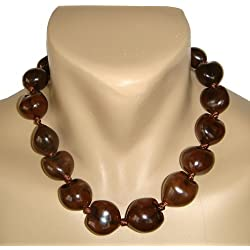 "Hawaiian Kukui Nut Brown Shell 18"" Choker Necklace"