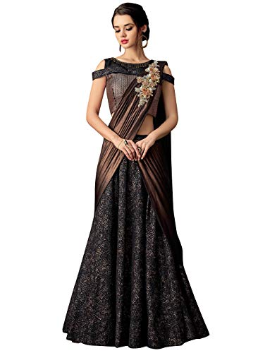 - DesiButik's Wedding Wear Gorgeous Black And Copper Fancy Jacquard Lehenga Choli with Dupatta