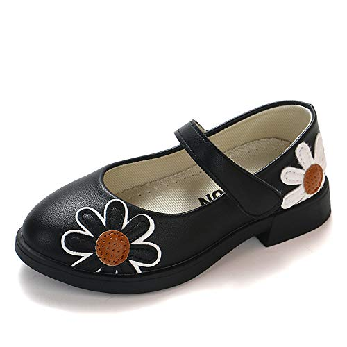 Toddler Baby Girls Children Dot Leather Single Shoes Soft Retro Princess Shoes(Black1 EU 27/10 M US Toddler)
