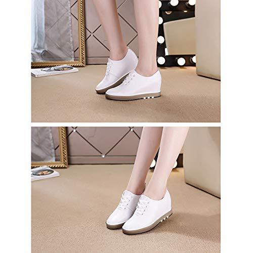 Scarpe Piattaforma Slip on Donna Sneaker Mocassino Camminate Nascosta 2 Caviglia Bianco Pelle Da Ginnastica Casual Huatime Stringate Comfort Zeppe OEvwqSS1