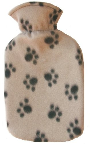 Warm Tradition PAWPRINT GRAY Fleece Covered Hot Water Bottle - Bottle made in Germany, Cover made in USA