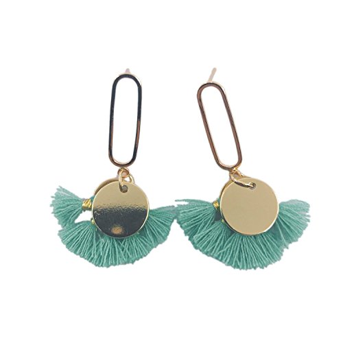 CATCHICY Fancy Short Fan-shaped Tassel Earring with Geometric Alloy Sequins Chic Simple and Elegant Daily Outfit (Emerald Green)