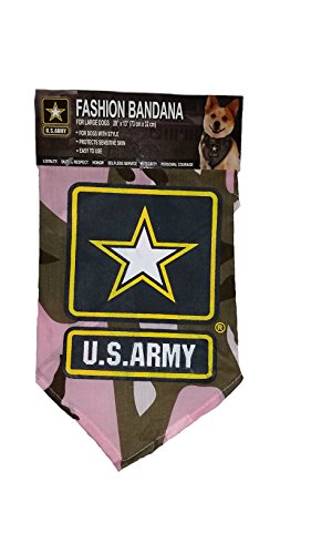 [US ARMY Pink Camo / Camouflage Dog Bandana (Large)] (Army Dog Costumes)