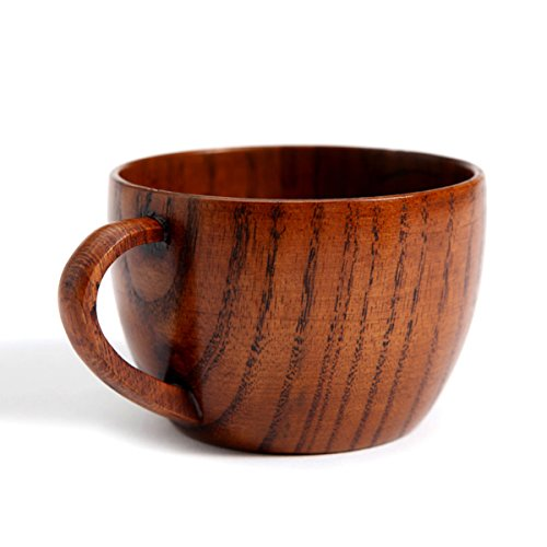 Natural Handmade Wood Cup Coffee Mug Drinking Tea Milk Wine Mugs Table Woodware, 1 pcs brown color