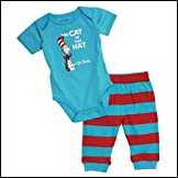 Dr. Seuss Short Sleeve Bodysuit and Pants - Blue Cat