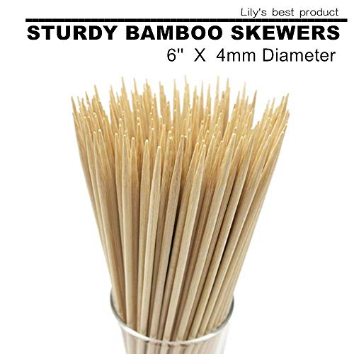 6Natural Bamboo Skewers for Appetiser, Cocktail, Kabob, Chocolate Fountain, and Fruit. Premium Barbecue Tools, Suitable for Kitchen, Party, Grilling,D=4MM, More Size Choices 8/10/12(100 PCS) ...