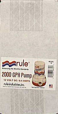 Rule 10 Marine Bilge Pump, 2000 Gallon Per Hour, Non-Automatic, 12 Volt DC