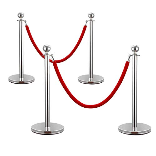 JAXPETY Round Top Polished Brass Stanchion Posts Queue Barrier, Pack of 4 Posts with Red Velvet Ropes,SILVER