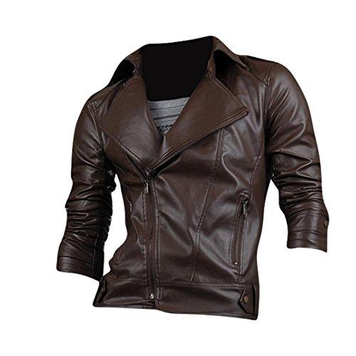 Jeansian Moda Hombre Chaqueta Moto Cuero Mens Fashion Jacket Motorcycle Leather Top 8937 Darkbrown